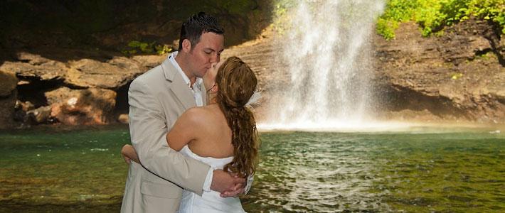 fiji wedding waterfall