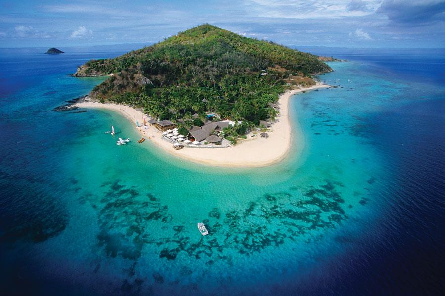 castaway island resort fiji aerial